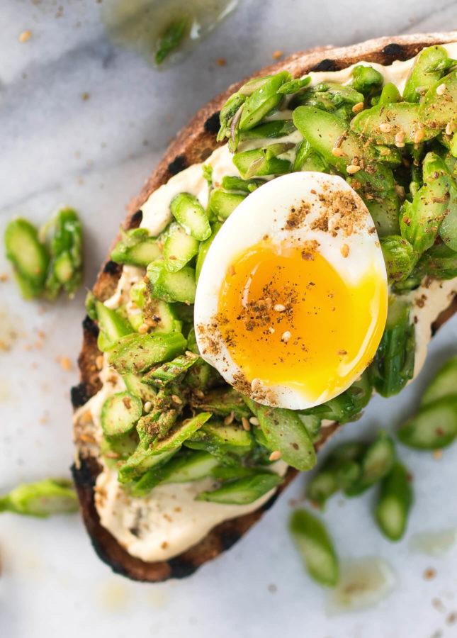 Fresh Asparagus, Soft-Boiled Egg, and Dukkah Tartine // FoodNouveau.com