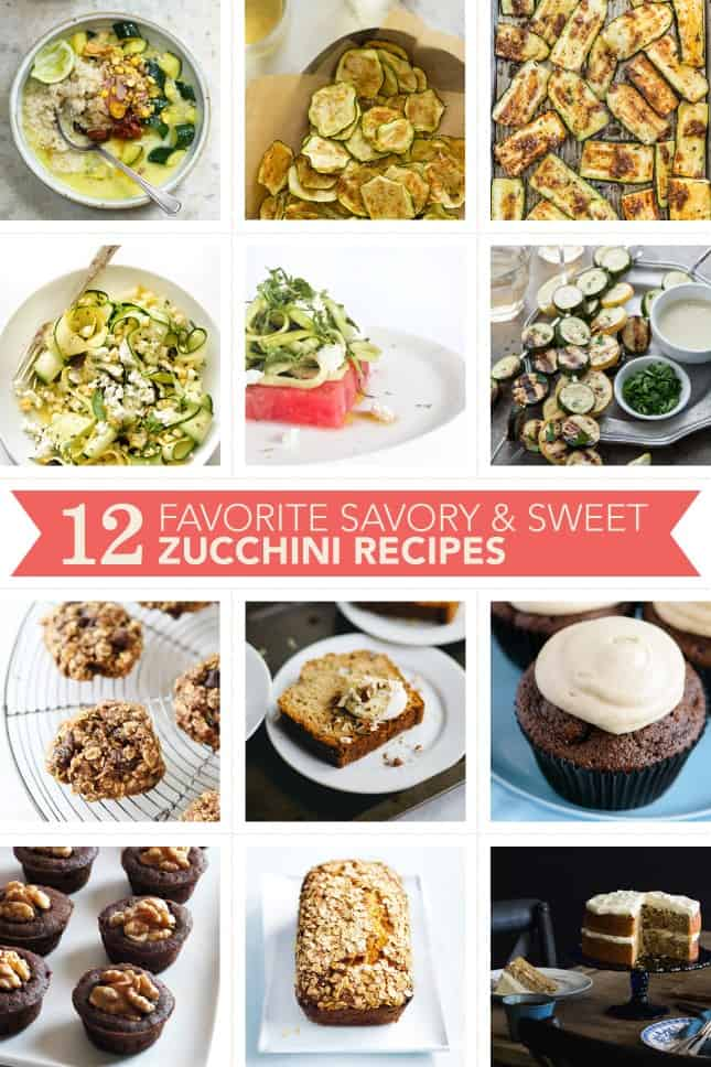 12 Favorite Savory & Sweet Zucchini Recipes, plus prep and storage tips and dozens of useful links to use up the season's bounty // FoodNouveau.com