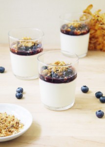 Almond Panna Cotta with Salted Praline and Macerated Blueberries (Dairy-Free) // FoodNouveau.com