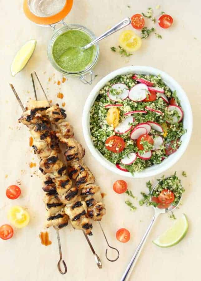 Grilled Chicken Skewers with Cilantro Pesto and Kale Tabbouleh // FoodNouveau.com