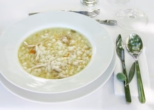 A tasty chicken and orzo soup served at Quinta do Manoella, in the Douro Valley, Portugal // FoodNouveau.com