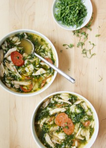 "Chicken, Kale, and Orzo Soup with ""Cheat"" Homemade Stock, Inspired by the Portuguese Caldo Verde // FoodNouveau.com"