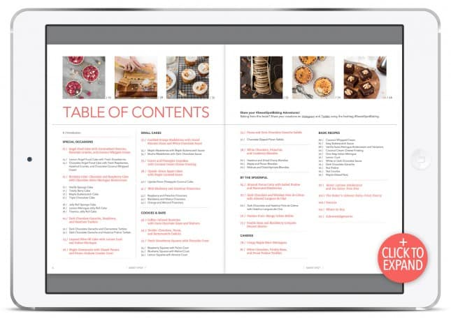 Table of contents of cookbook Sweet Spot: Modern, Better-for-You Dessert Recipes, with Clever Tips to Bake (Mostly) Dairy Free, by Marie Asselin // FoodNouveau.com