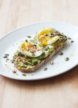 Smashed Avocado, Soft-Boiled Egg, and Pumpkin Seed Tartine