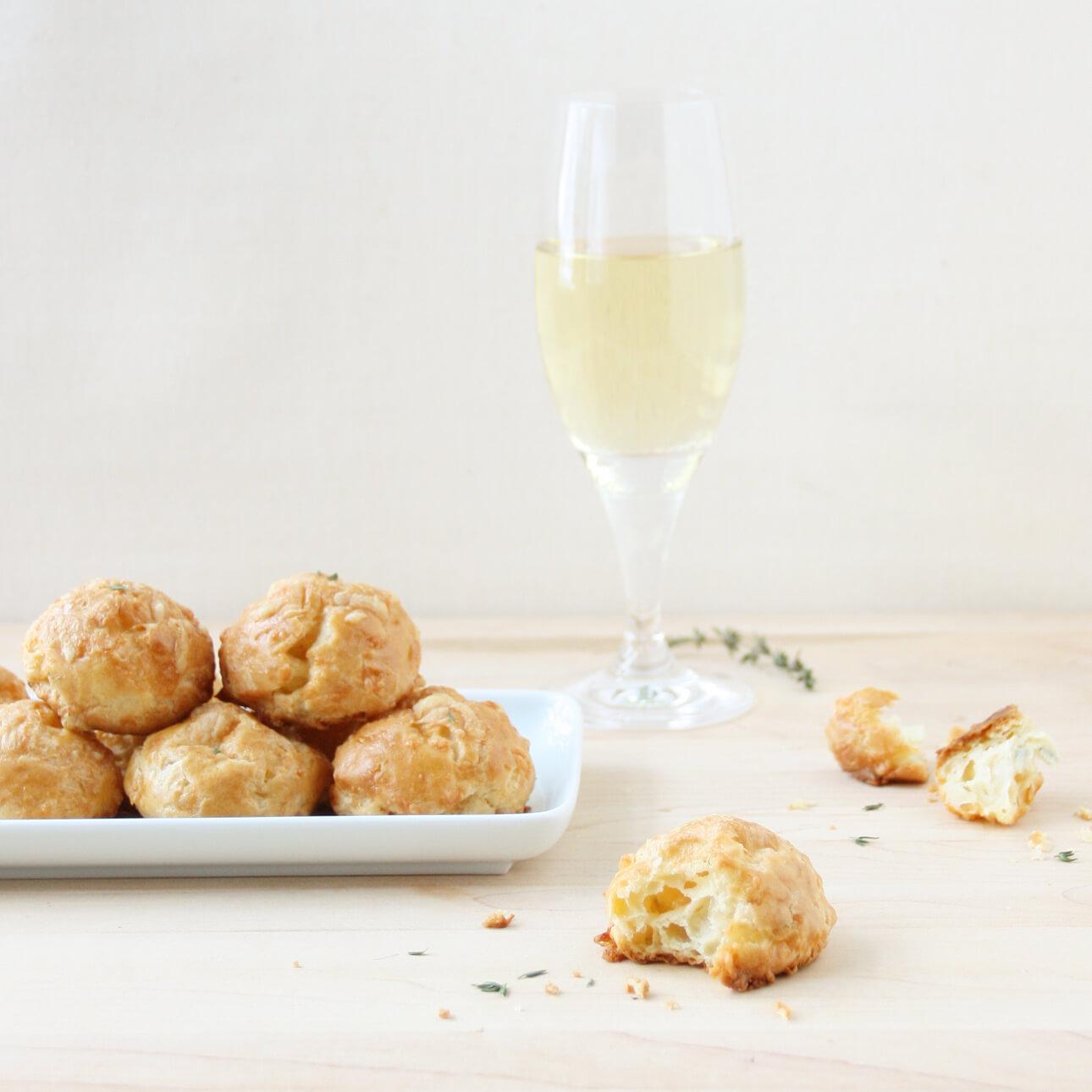 Champagne, Comté, and Fresh Thyme Gougères - Food Nouveau
