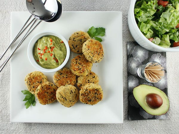 Red Lentil & Goat Cheese Croquettes with Zesty Avocado Sauce // FoodNouveau.com
