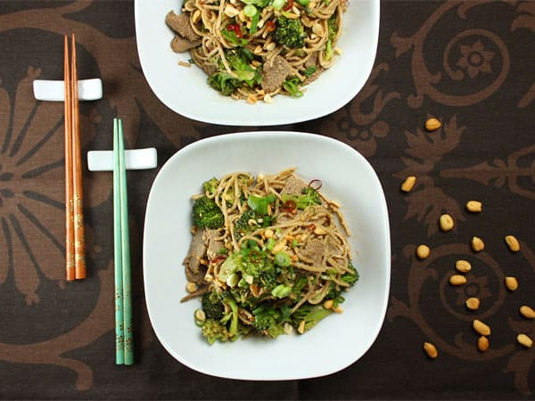 Peanut Soba with Stir-Fried Beef and Broccoli // FoodNouveau.com