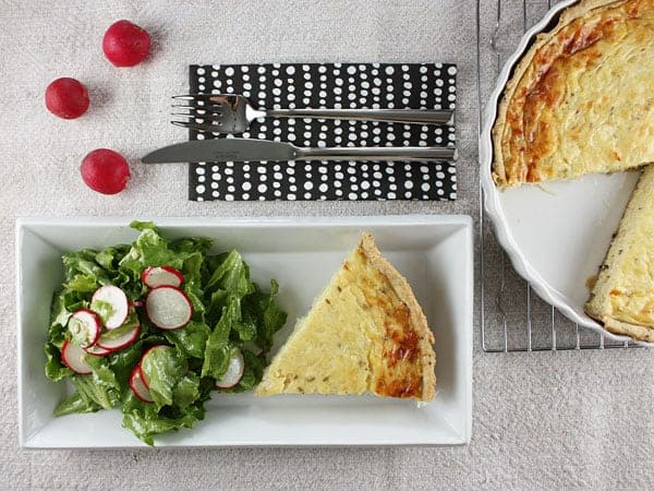 Onion and Cumin Quiche with Whole Wheat Olive Oil Crust // FoodNouveau.com