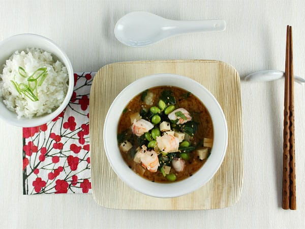 Miso Soup with Shrimp and Tofu // FoodNouveau.com