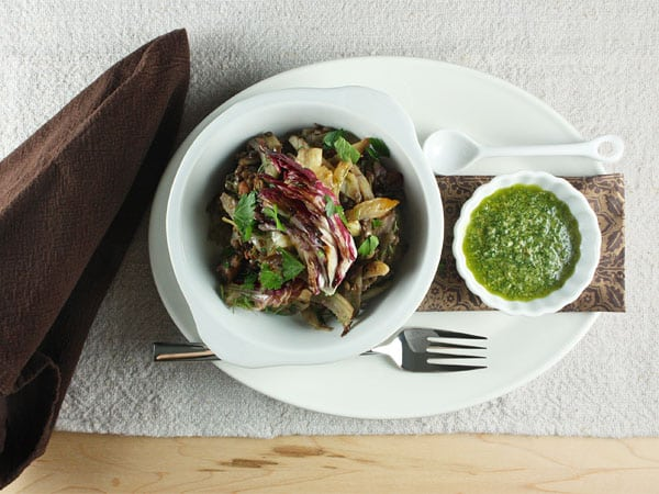 Sausage, Lentils and Radicchio with Salsa Verde // FoodNouveau.com