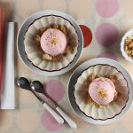 Rhubarb Ice Cream with Crumbly Almond Topping // FoodNouveau.com