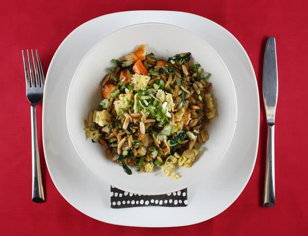 Susur Lee's Crab, Spinach, and Orzo Sauté // FoodNouveau.com