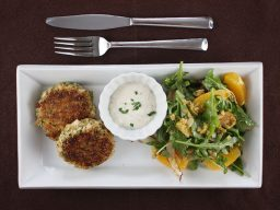 White Fish, Green Olive, and Citrus Patties with Fennel and Orange Salad