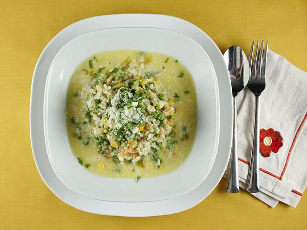 Sweet Pea Risotto with Corn Broth // FoodNouveau.com