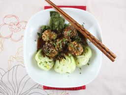 Pork-Jasmine Rice Meatballs with Baby Bok Choy