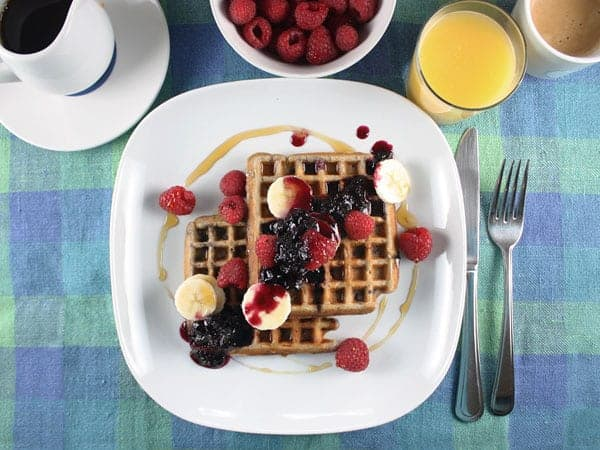 Whole Wheat Waffles with Blueberry Syrup // FoodNouveau.com