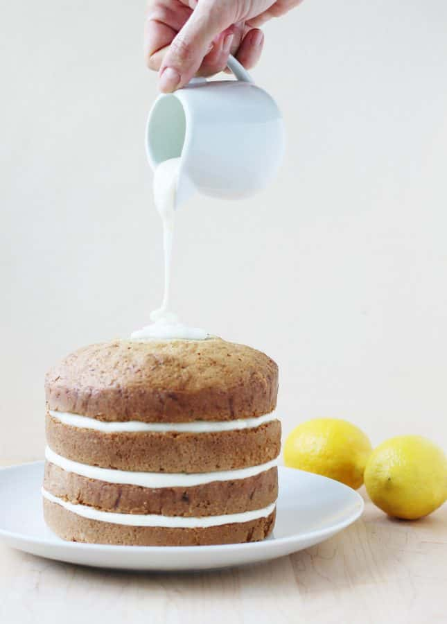 Lemon Zucchini Cake with Goat Cheese Frosting and Lemon Glaze, a recipe adapted from the book Layered by Tessa Huff // FoodNouveau.com