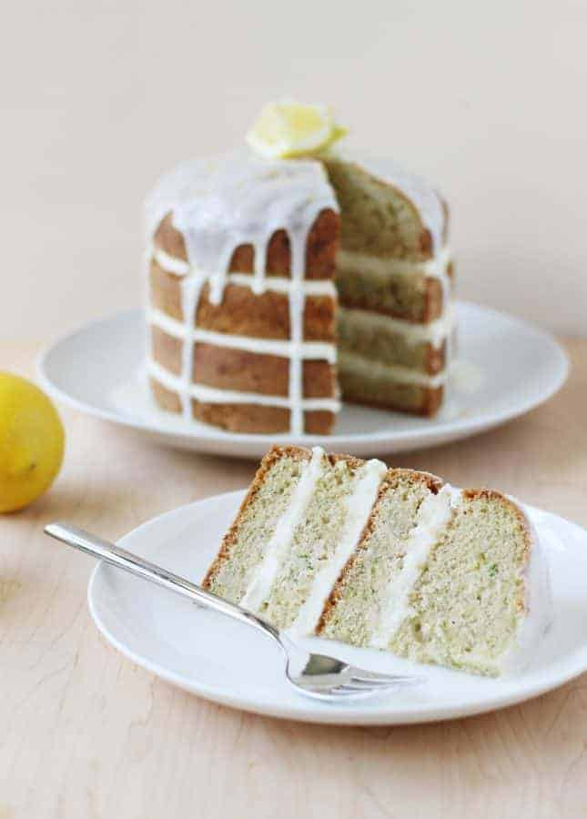 A Spectacular Lemony Zucchini Cake, a recipe from the book Layered bu Tessa Huff // FoodNouveau.com