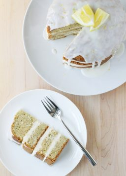 Lemon Zucchini Cake with Goat Cheese Frosting and Lemon Glaze