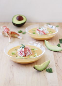 Curried Snow Crab, Corn, and Avocado Chowder