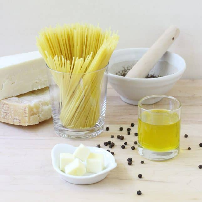 Ingredients to make One-Pan Cacio e Pepe Pasta // FoodNouveau.com