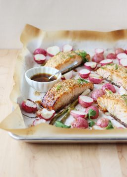 One-Pan Honey Sesame Salmon with Roasted Radishes