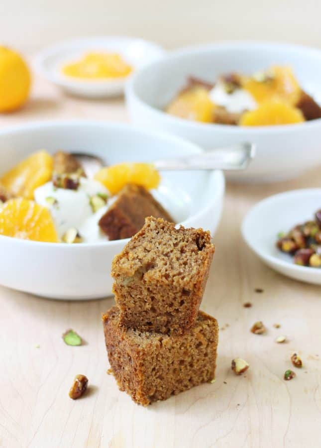 Orange and Cardamom Carrot Cake with Vanilla Yogurt and Candied Pistachios // FoodNouveau.com