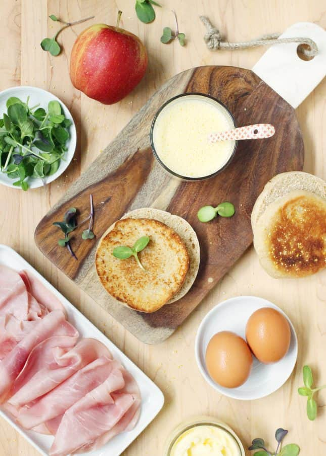Ingredients to Make Runny Egg, Maple Ham, and Crispy Apple Breakfast Sandwich with Blender Hollandaise Sauce // FoodNouveau.com