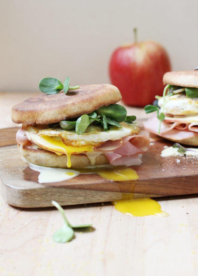 Runny Egg, Maple Ham, and Crispy Apple Breakfast Sandwich with Blender Hollandaise Sauce // FoodNouveau.com