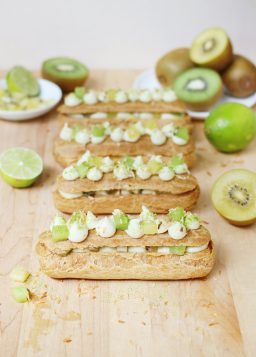 Kiwifruit, Lime, and Coconut Eclairs
