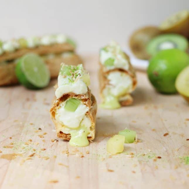 Kiwifruit, Lime, and Coconut Eclairs // FoodNouveau.com