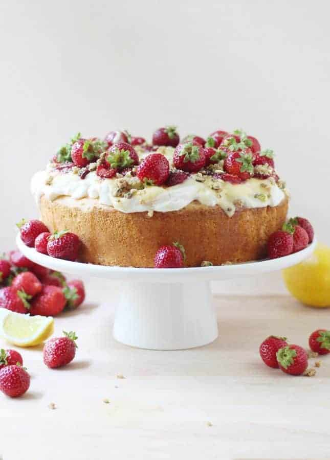 Homemade Angel Food Cake with Lemon Curd, Maple-Roasted Strawberries, and Pistachio Crumbs {+ How To Video} // FoodNouveau.com