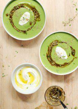 Velvety Spinach, Cauliflower & Tahini Soup with Za'atar Oil