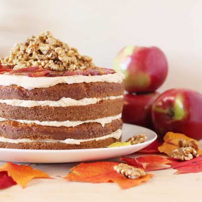 Layered Apple Cake with Caramelized Apple Buttercream and Maple Walnut Crumble // FoodNouveau.com