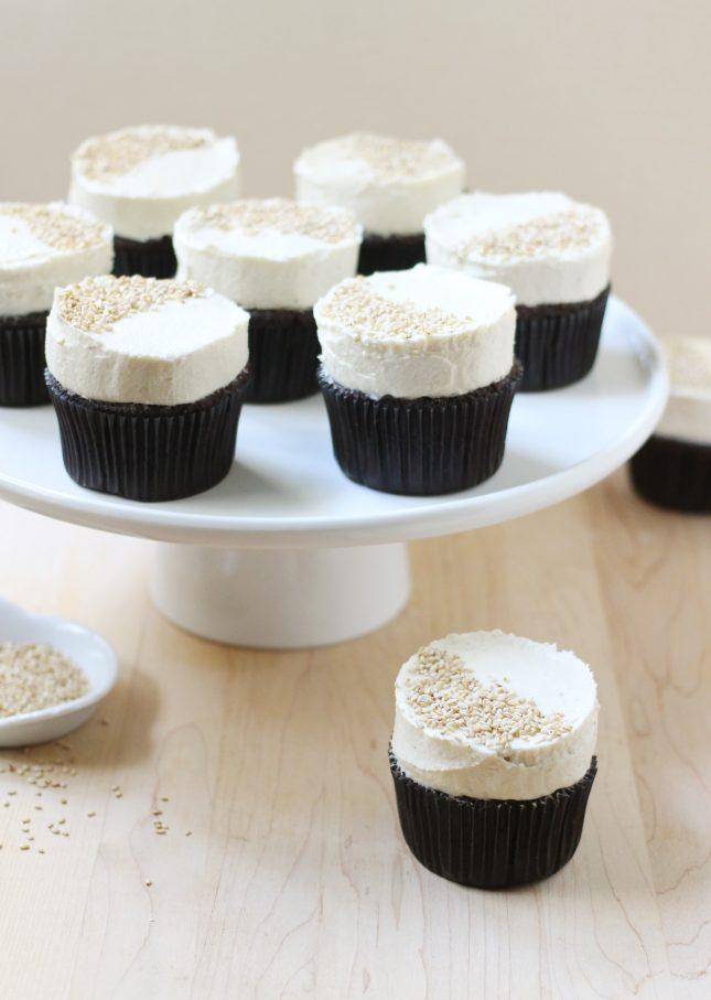 Dark Chocolate Cupcakes with Tahini Buttercream // FoodNouveau.com