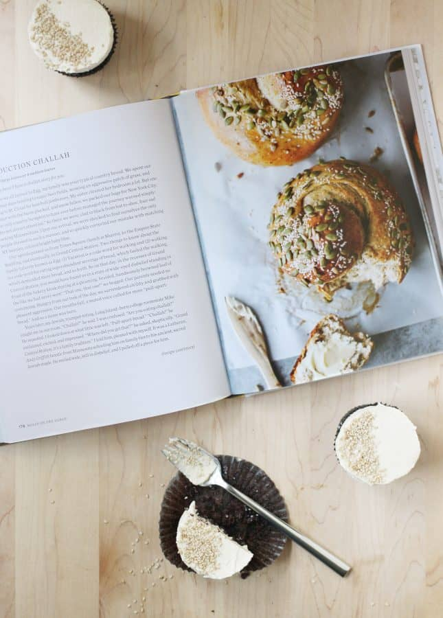 Dark Chocolate Cupcakes with Tahini Buttercream, inspired by the book Molly on the Range // FoodNouveau.com