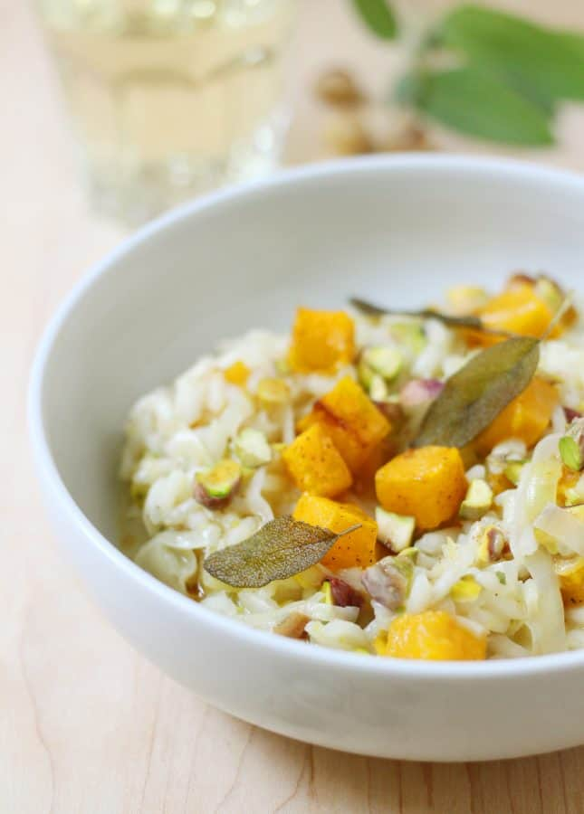 Roasted Butternut Squash, Pistachio, and Brown Butter Risotto with Fried Sage Leaves // FoodNouveau.com