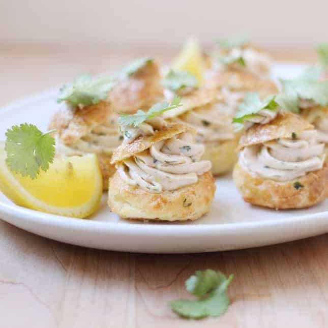 Parmesan Cheese Puffs with Smoked Salmon Mousse // FoodNouveau.com