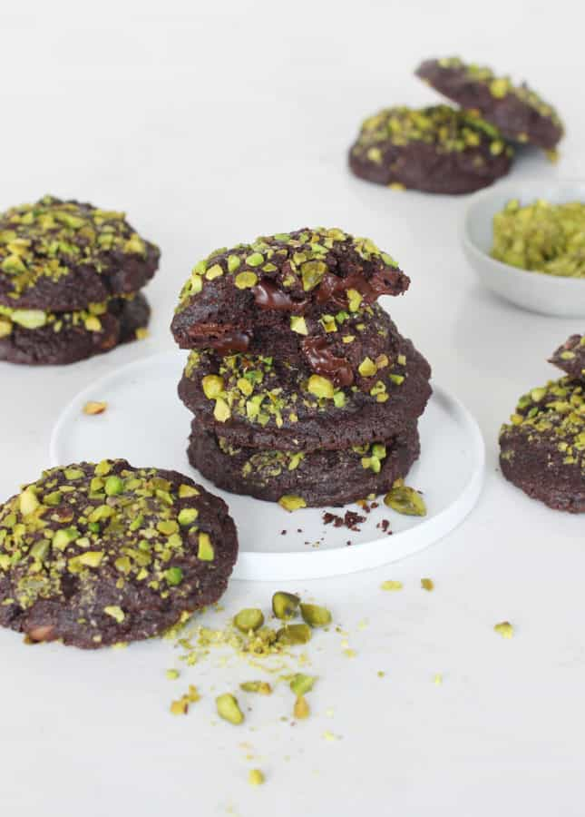 Triple Chocolate and Pistachio Cookies // FoodNouveau.com