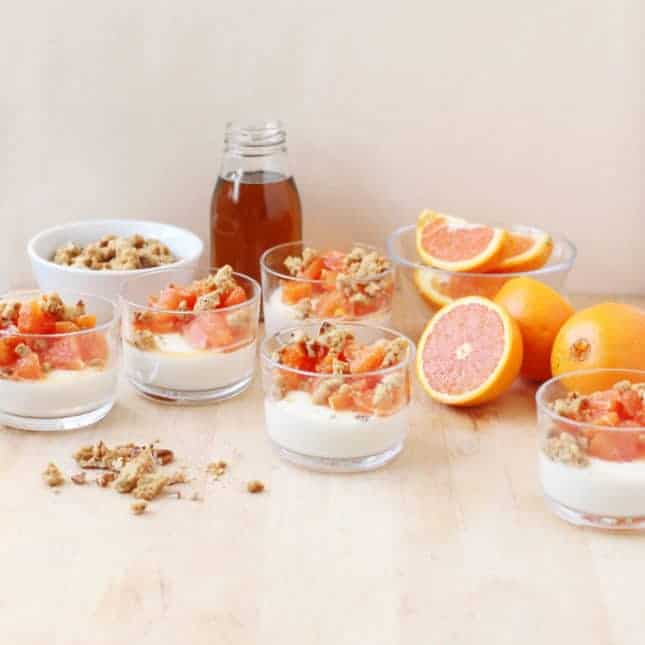 Cara Cara Orange and Maple Panna Cotta with Pecan-Maple Crumble // FoodNouveau.com