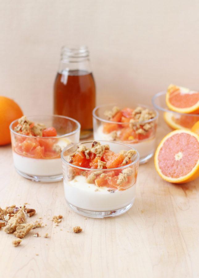 Cara Cara Orange and Maple Panna Cotta with Pecan-Maple Crumble // FoodNouveau.com