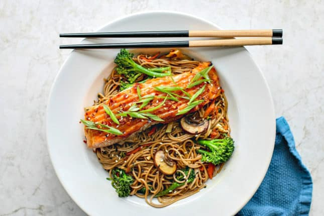 Miso Glazed Salmon With Sesame Soba Noodles, by Killing Thyme // FoodNouveau.com
