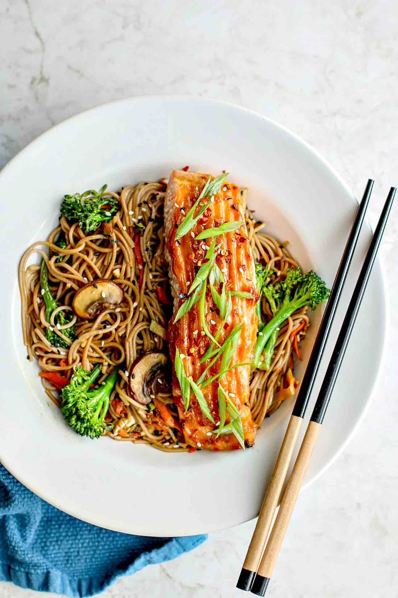{Cooking with Friends} Miso Glazed Salmon With Sesame Soba Noodles, by Killing Thyme