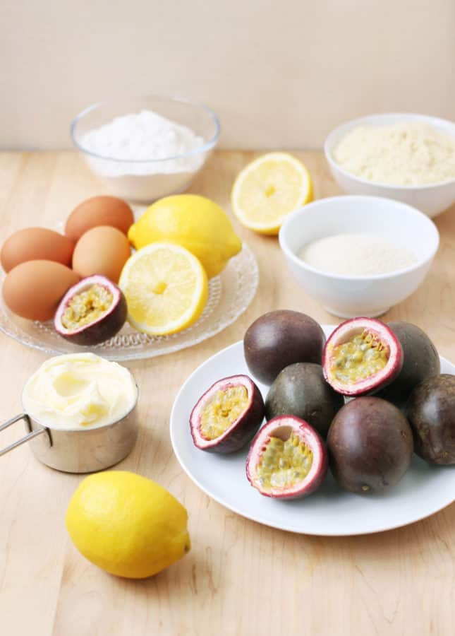 Ingredients to make passion fruit and lemon drizzle cake // FoodNouveau.com