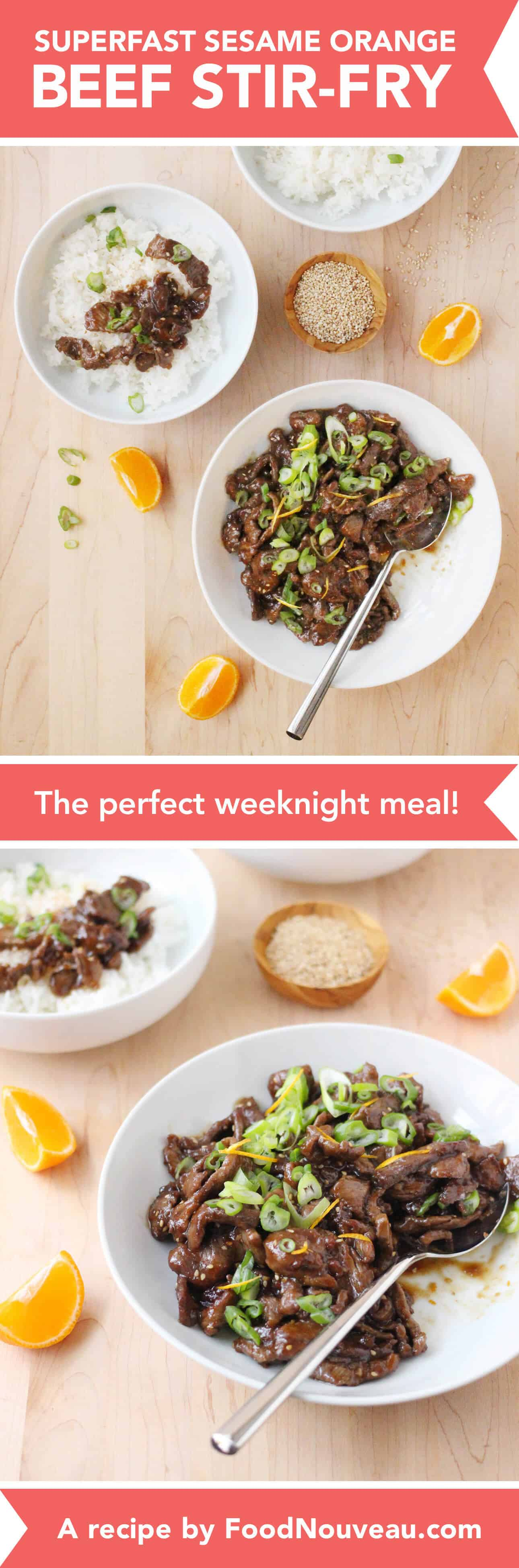 Superfast Sesame Orange Beef Stir-Fry: The perfect weeknight, family-friendly meal! // FoodNouveau.com