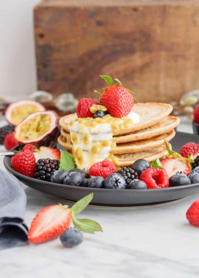 Dairy-Free Healthy Low-Gluten Mini Pancakes, by Eyecandypopper.com // FoodNouveau.com