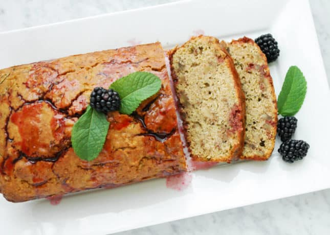 Gluten-Free + Dairy-Free Lemon Zucchini Bread with Blackberry Sauce for Dessert, by Eyecandypopper.com // FoodNouveau.com