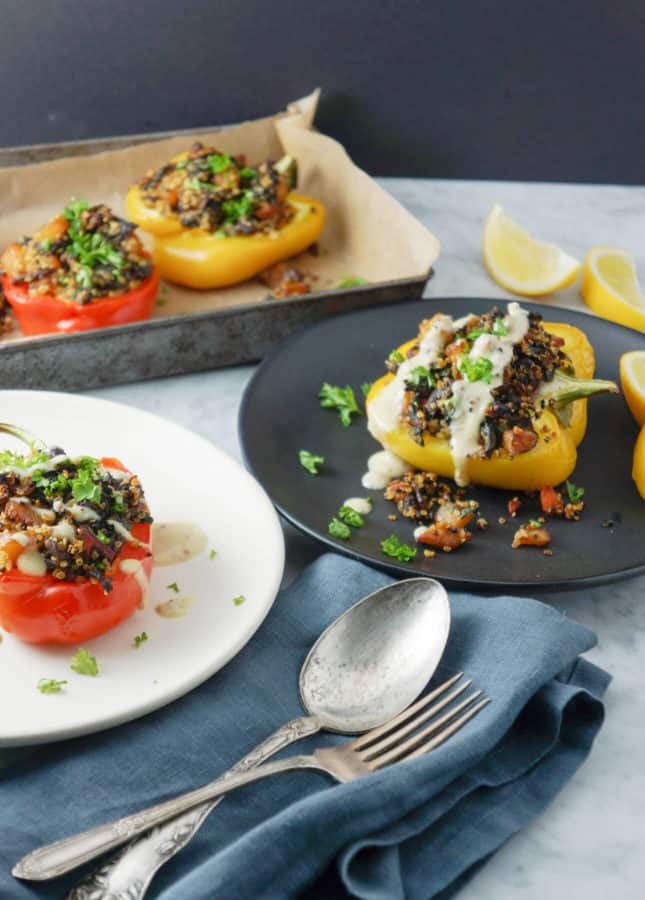 Quinoa and Vegetable Stuffed Peppers for Dinner, by Eyecandypopper.com // FoodNouveau.com