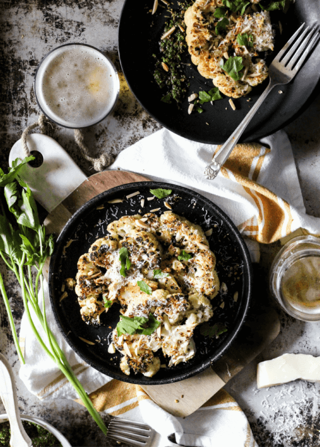 Spiced Cauliflower Steaks with Lemon, Herbs & Toasted Almonds // Food Nouveau