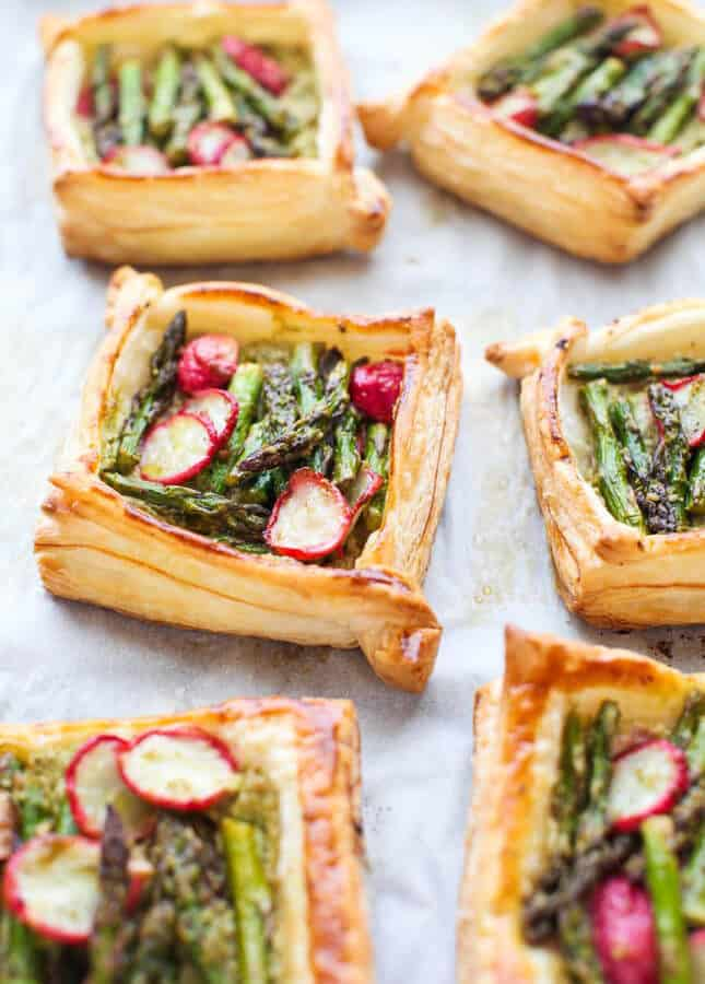 Pesto & Ricotta-filled Asparagus and Radish Tarts, by Simple Bites // FoodNouveau.com